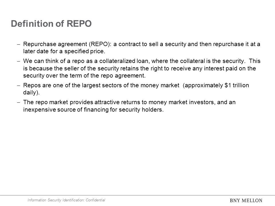 Repo and reverse repo markets ppt video online download definition of repo repurchase agreement repo a contract to sell a security and platinumwayz