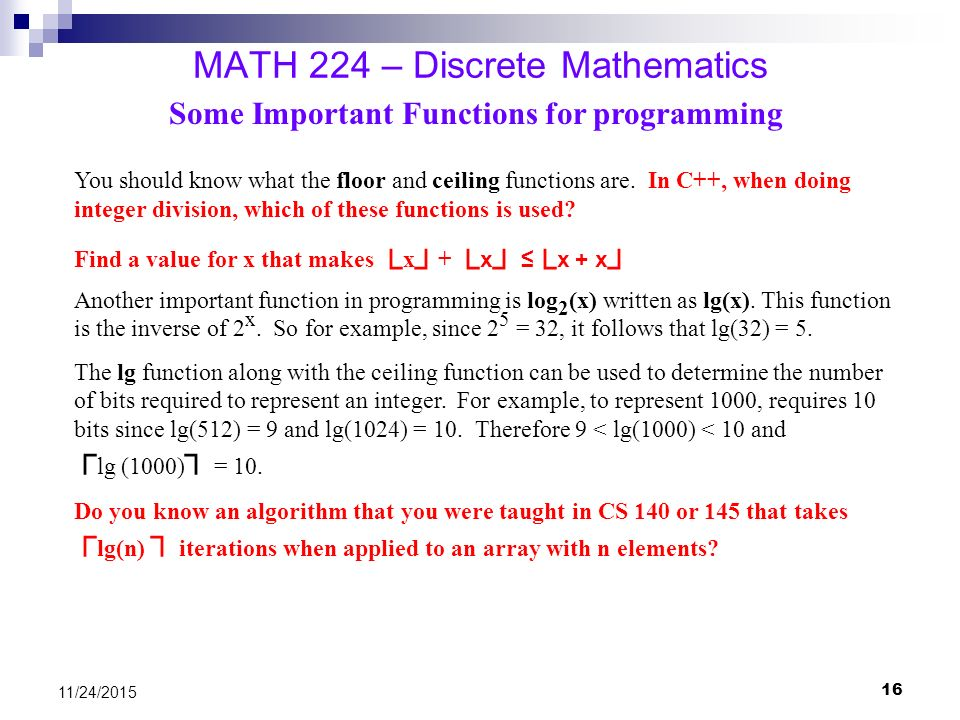 Math 224 discrete mathematics ppt video online download for Floor function example