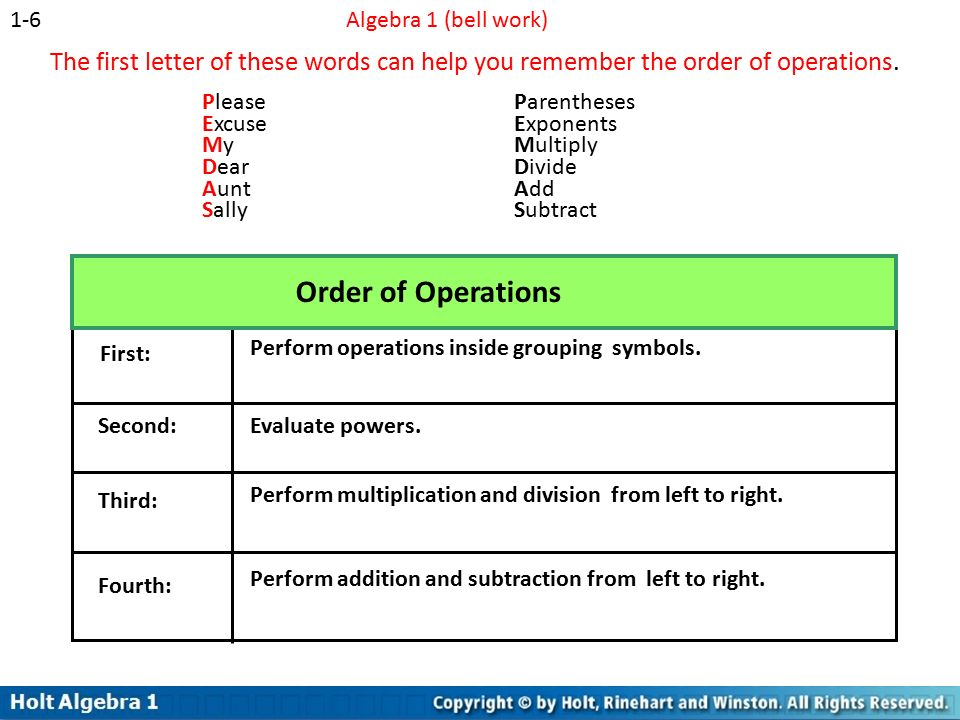 chapter foundations of algebra ppt video online  1 6 algebra 1 bell work the first letter of these words can