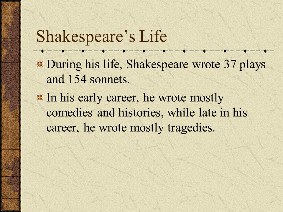 the early life and literary career of william shakespeare William shakespeare biography describes the life of william shakespeare from  birth to death, shakespeare biography describes all that is known about.