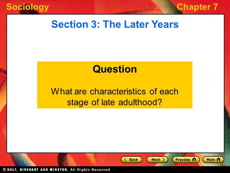 characteristics of late adulthood Chapter 5 developmental stages of the developmental stages of the learner stage-specific characteristics of adulthood and.