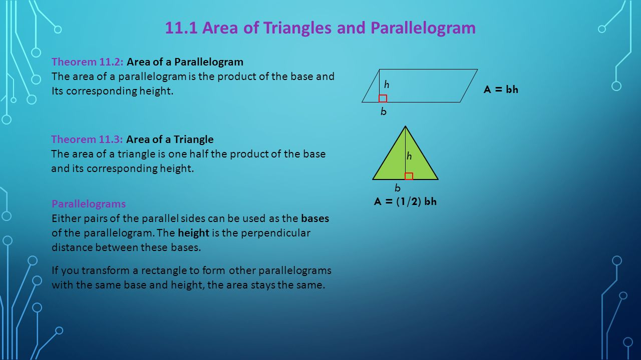 111 Area Of Triangles And Parallelogram How To Find
