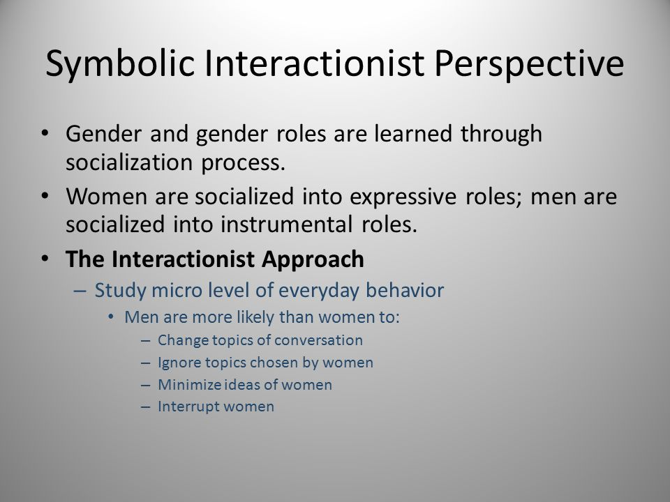 Symbolic Interactionist View Of Gender Roles Term Paper Writing