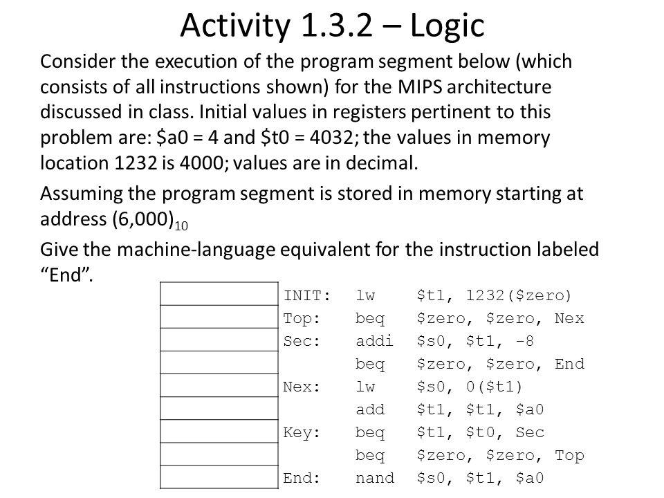 Activity 1.3.2 – Logic