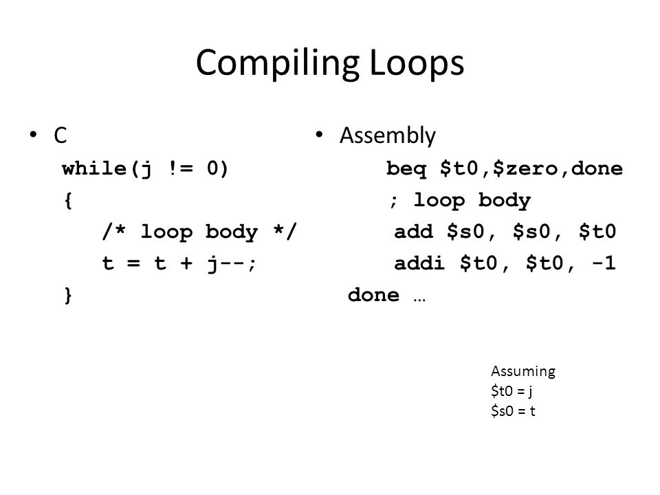 Compiling Loops C Assembly while(j != 0) { /* loop body */