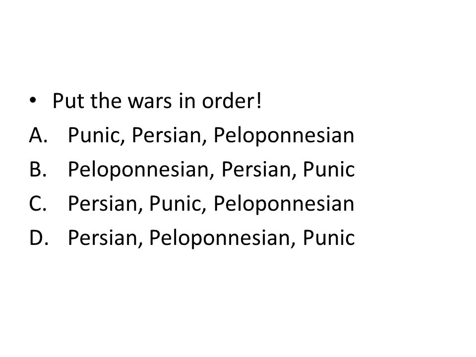 peloponnesian punic wars What were the differences between the polynesian, persian, and punic wars any little bit helps thanks.