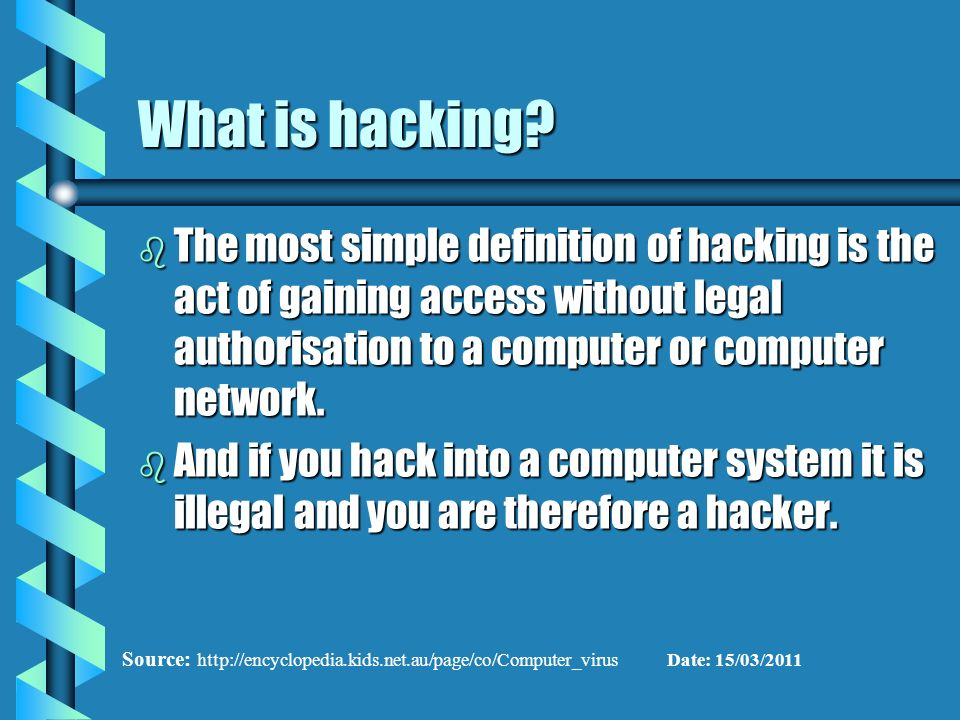 the definition of hacking The definition for the term hacker is as elusive as those who earn the moniker  find out from the accepted source what a hacker really is.