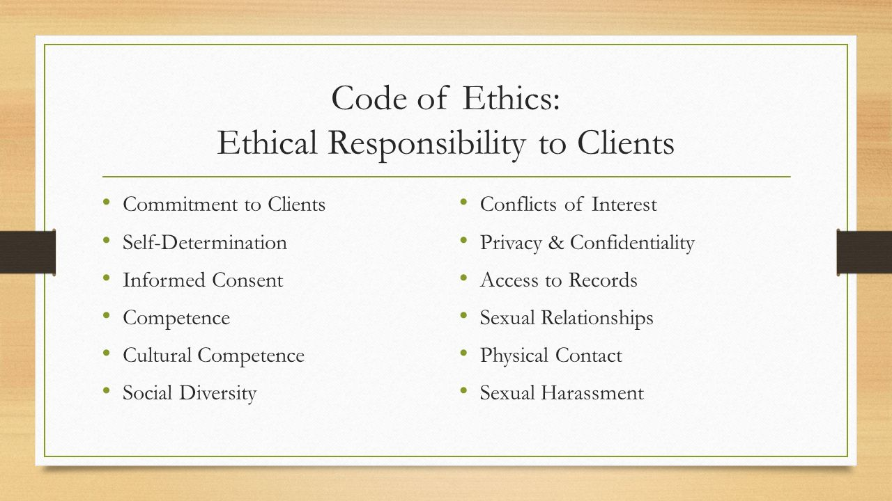 Ethics dating clients