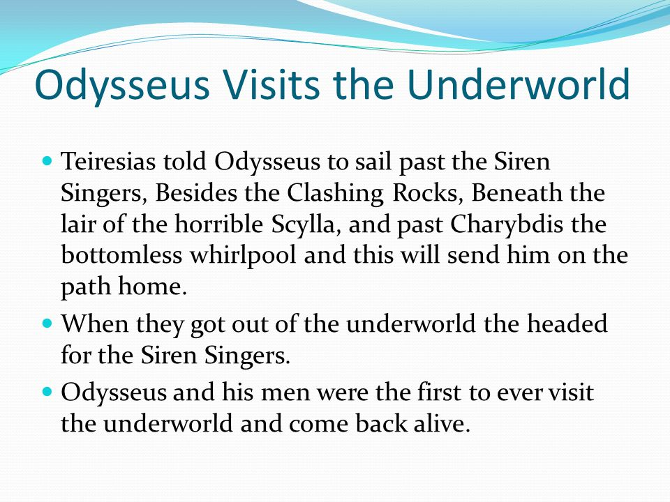 odysseus journey to the underworld essay Achilles essay - free download as odysseus odysseus' journey in homer's the odyssey tells of his hardships and struggles to odysseus in the underworld.