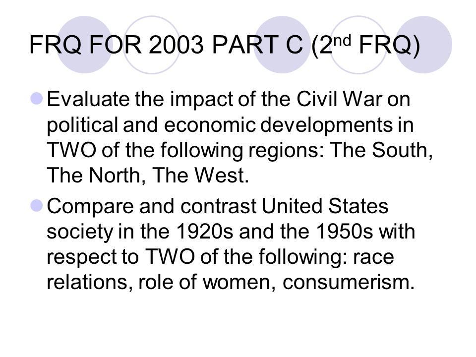 apush frq Advanced placement united states history (also known as ap us history or apush) is a course and examination offered by college board as part of the advanced.
