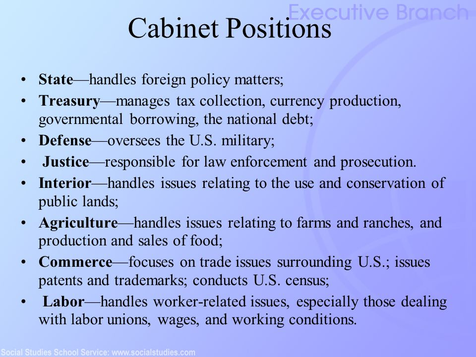 56 Cabinet Positions ...