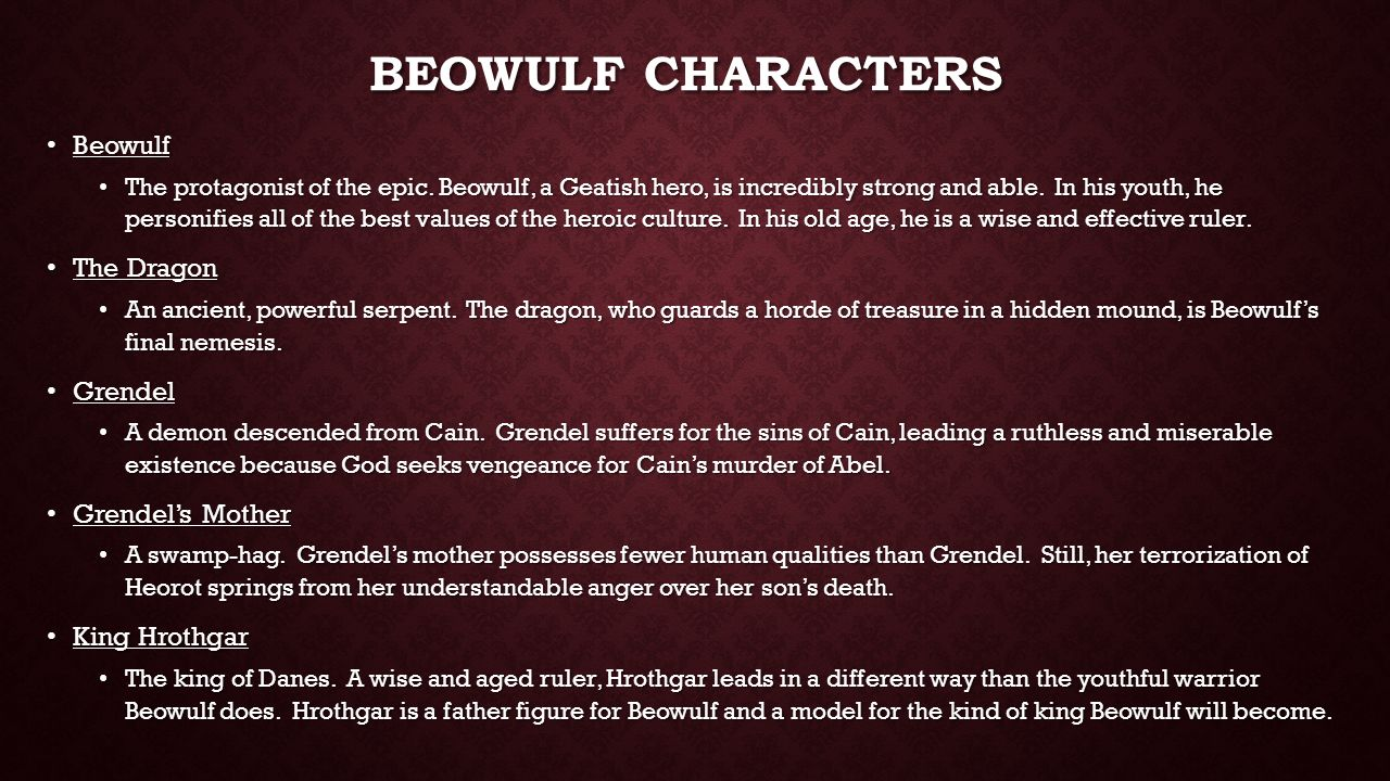 an analysis of the character of grendel in beowulf The causes of his defeat will be made clear by an analysis of the character of grendel and by contrast beowulf through sigmund freud's theories of the id, ego and .