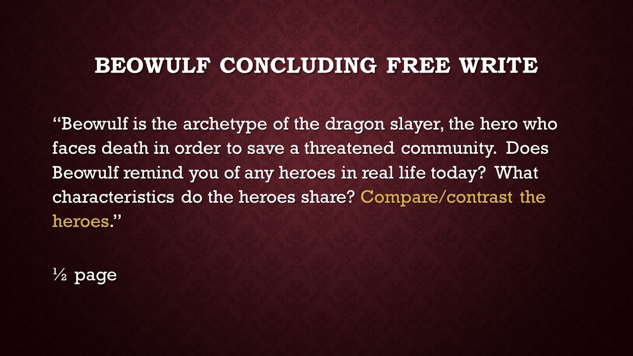 how did beowulf exemplify the hero archetype How does this passage exemplify the archetype of the how does this passage exemplify the qualities of goodness and right for a hero archetype to portray beowulf.