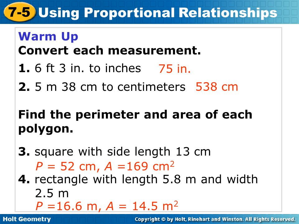 Warm Up Convert Each Measurement Ft 3 In To Inches M 38 Cm To Centimeters