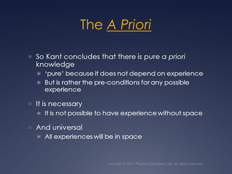 kant on time as a priori essay Kant critique of pure reason essay length: 8 pages subject: black studies - philosophy by observing experience in the realm of space and time and recognizing that space and time encompassed experience, kant set out to determine what can be known and how knowledge is acquired in reading kant, assuming common usage of terms can lead one astray kant.