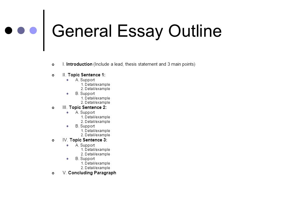parts of an essay outline A step-by-step guide to writing a basic essay, along with links to other  you will  be responsible only for supplying ideas, which are the important part of the essay  anyway  prepare an outline or diagram of your ideas.