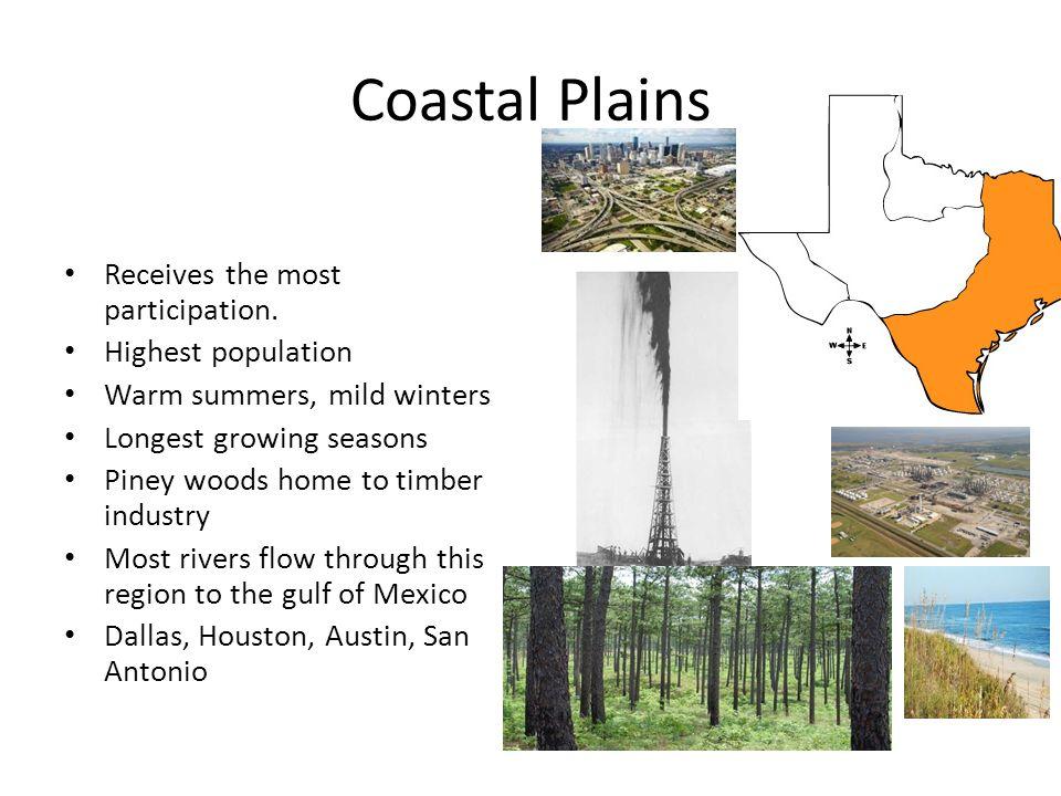 Coastal Plains Receives the most participation. Highest population