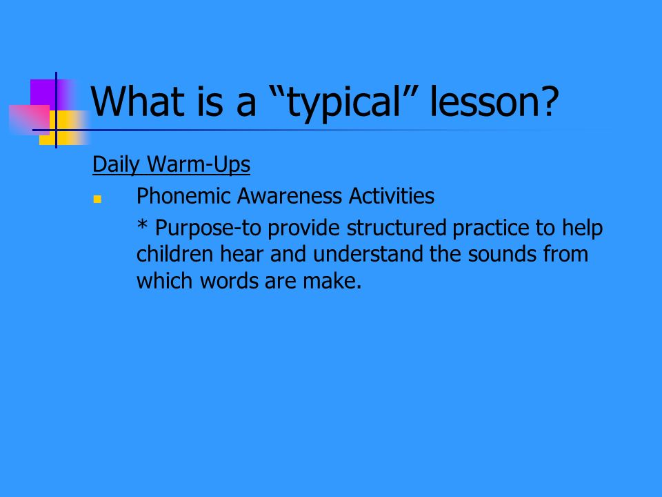 What is a typical lesson