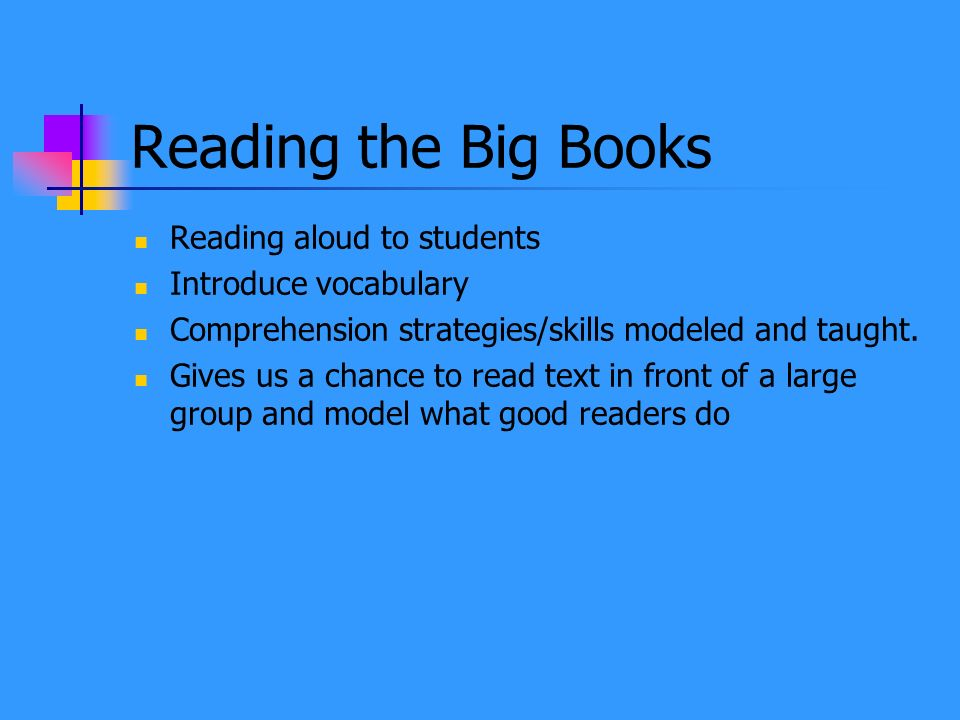 Reading the Big Books Reading aloud to students Introduce vocabulary
