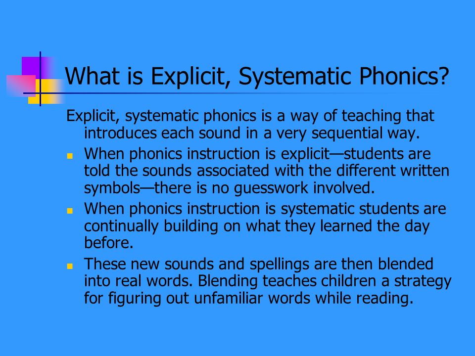 What is Explicit, Systematic Phonics