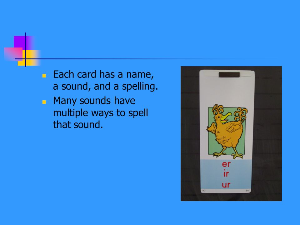 Each card has a name, a sound, and a spelling.