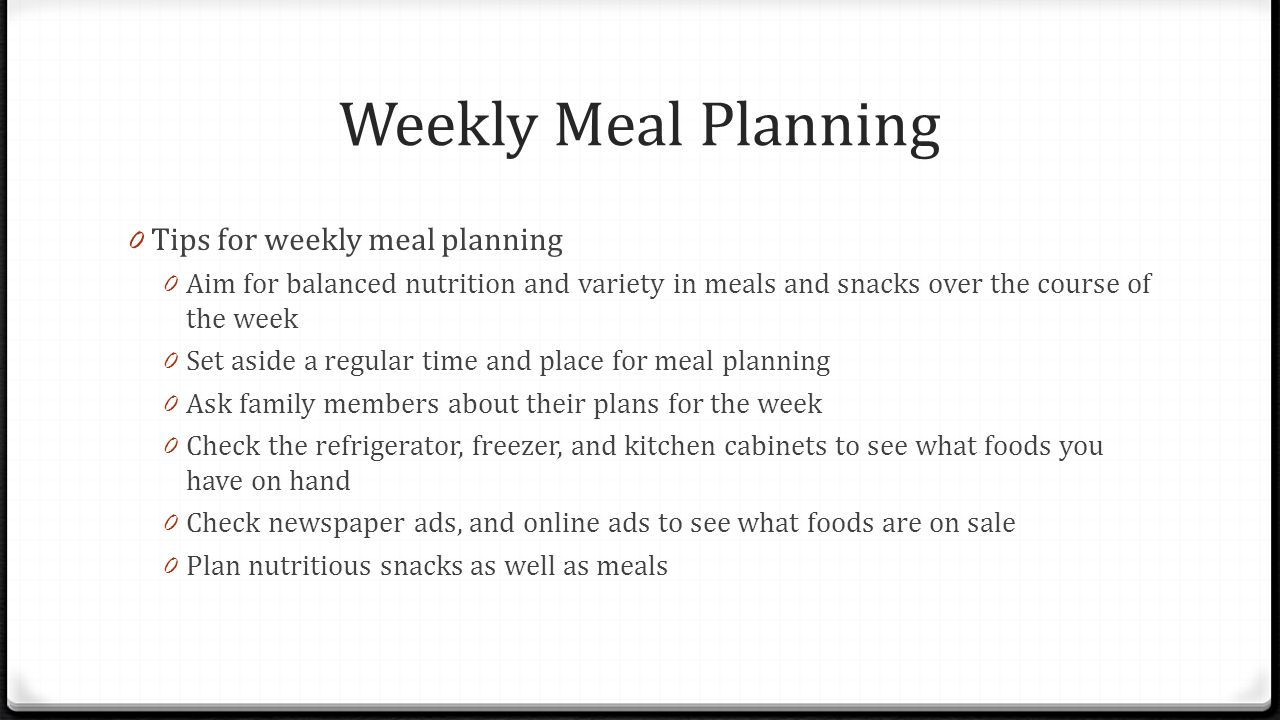 Meal Planning and Management