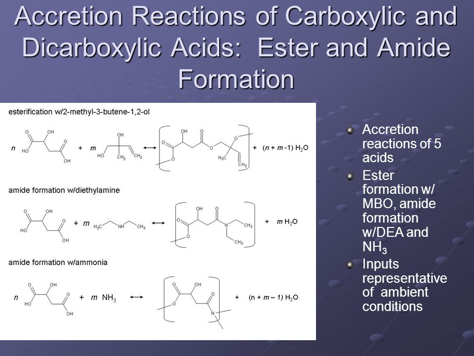 an experiment to determine the ester from the combination of carboxylic acids Conclusion & evaluation the hypothesis made was correct this experiment proved that esters can indeed be created by combining carboxylic acids and alcohols.