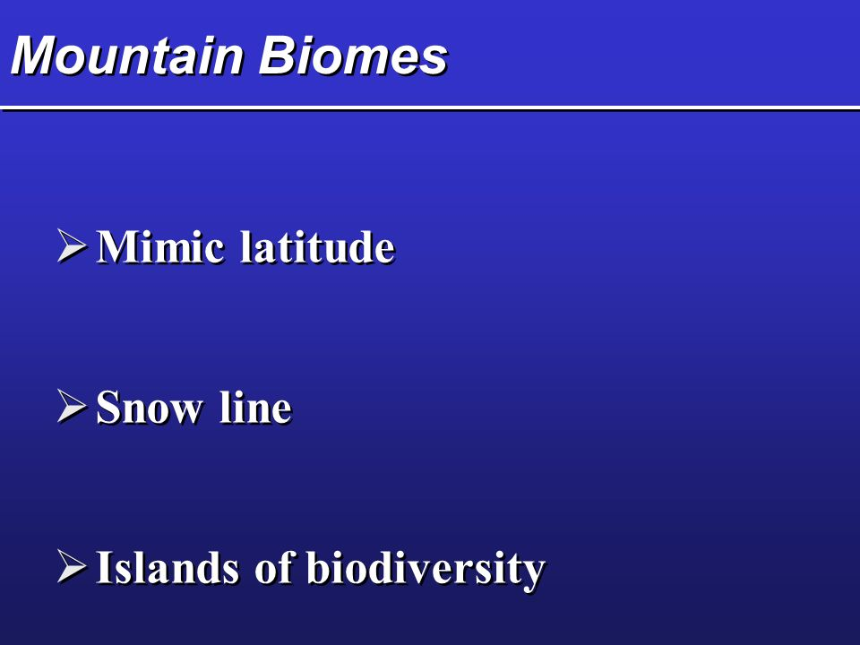 biomes an biodiversity A biome / ˈ b aɪ oʊ m / is a  humans have altered global patterns of biodiversity and ecosystem processes as a result,  endolithic biomes the endolithic.