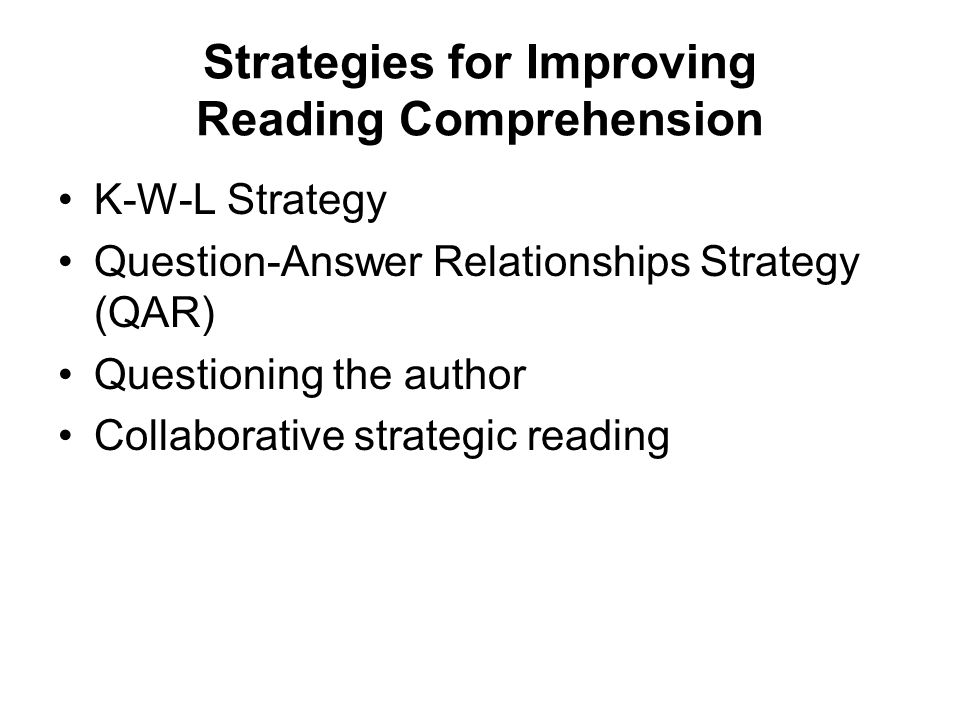 qar a reading comprehension strategy Effectiveness of question-answer-relationship strategy in  question -answer relationship strategy reading comprehension  effect of qar strategy in the reading.