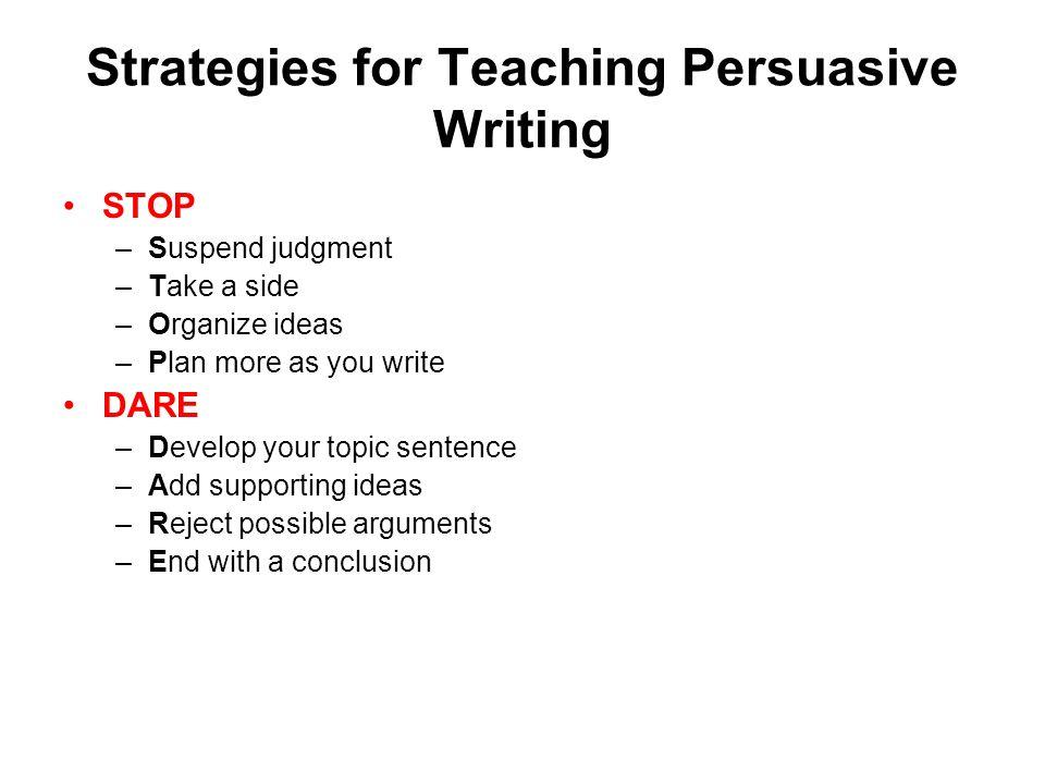 persuasive strategies in writing Techniques and strategies for writing persuasive or argumentative essays.