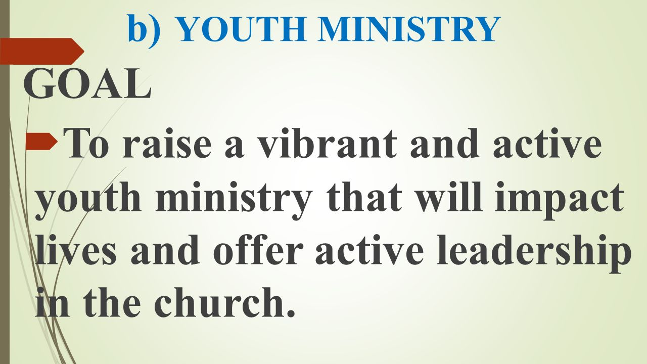 b) YOUTH MINISTRY GOAL.