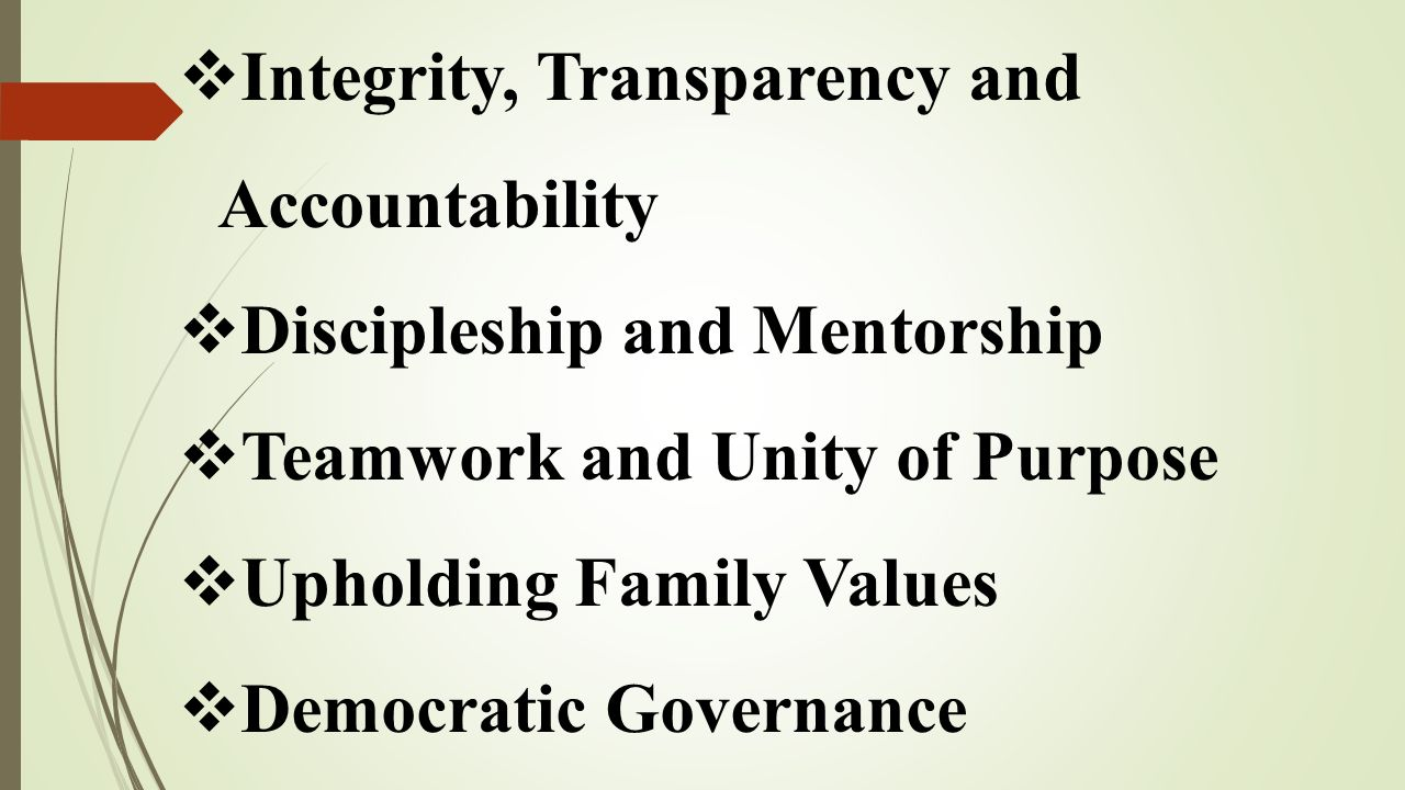 Integrity, Transparency and Accountability