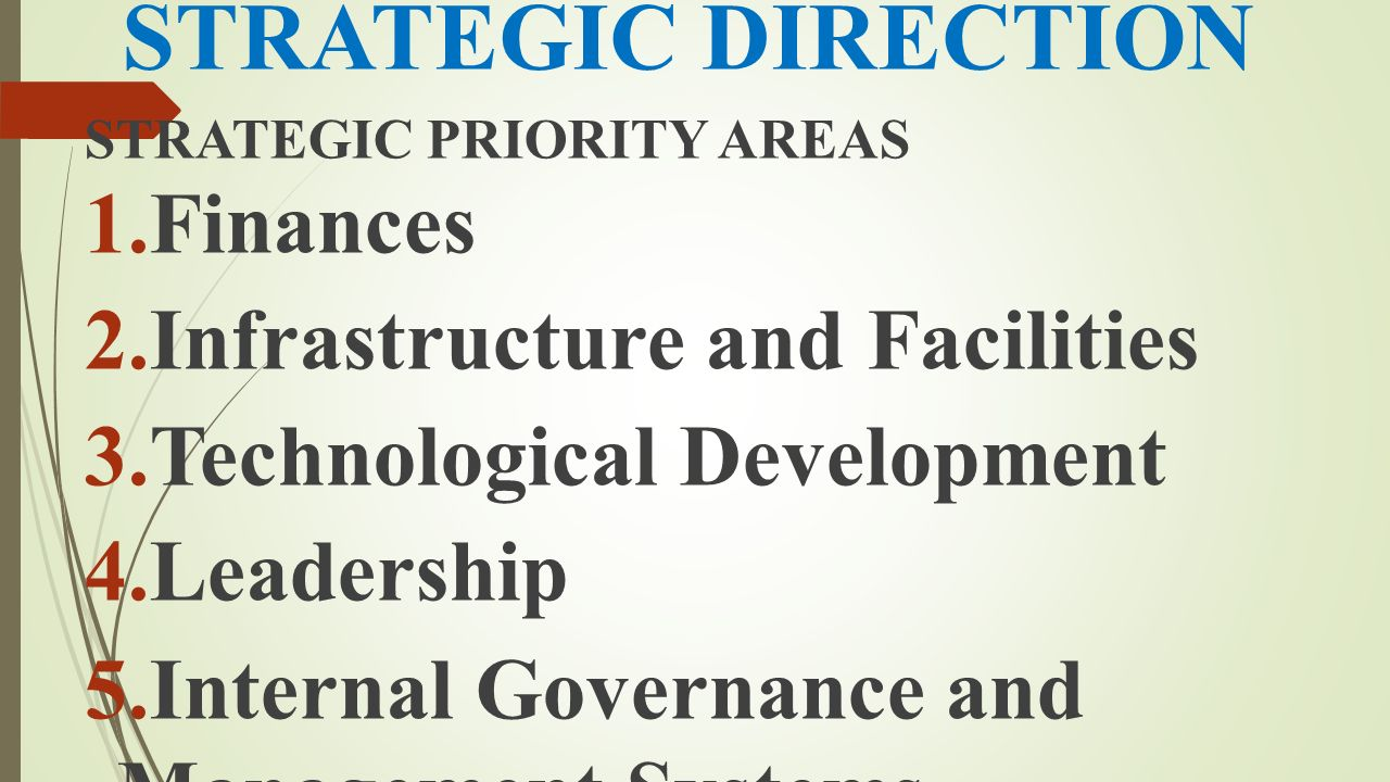 STRATEGIC DIRECTION Finances Infrastructure and Facilities