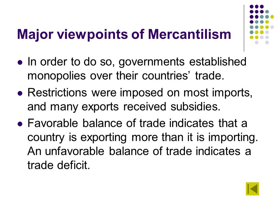 a view on international trade and mercantilism