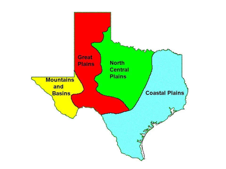 Great Plains North Central Plains Mountains and Basins Coastal Plains