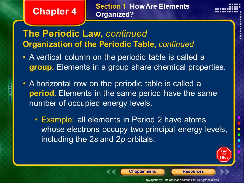 Periodic Law Example Chapter 4 Table...