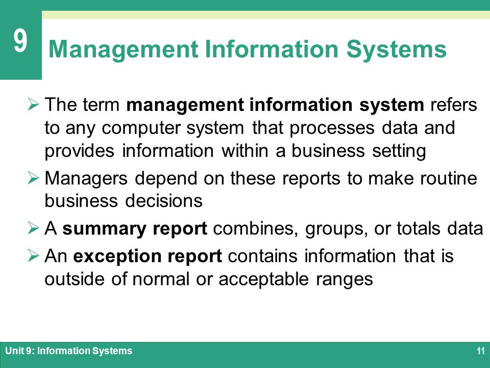Summary Details on Information Management