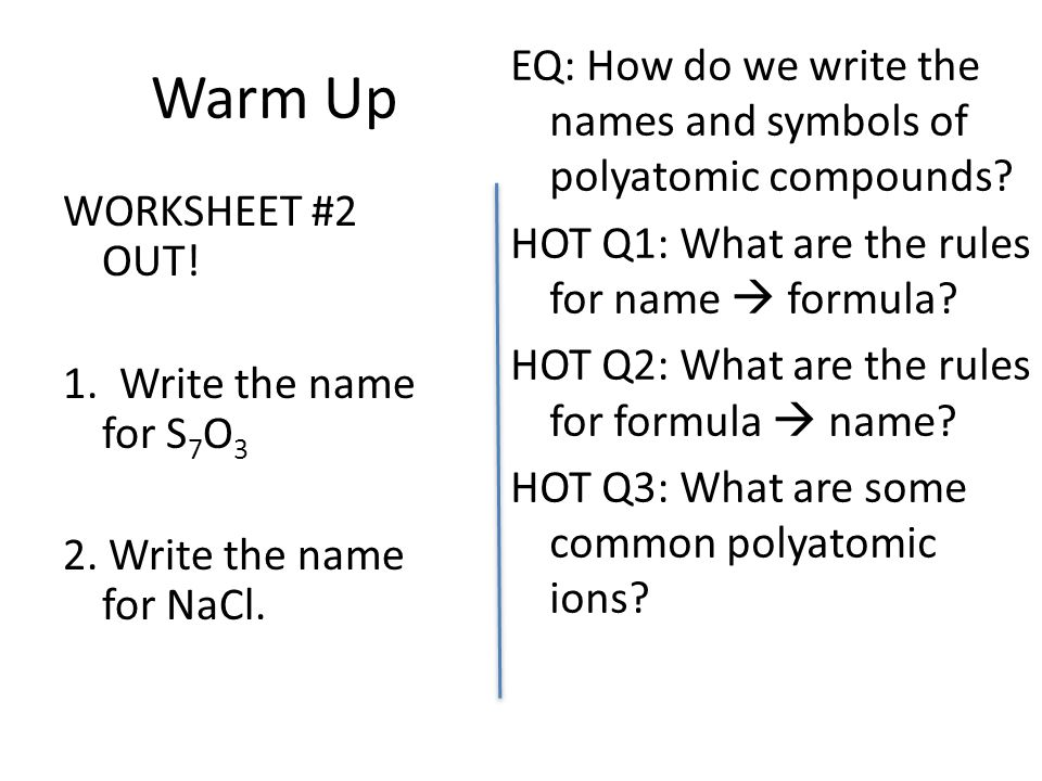 Naming Polyatomic Ions ppt download – Formulas with Polyatomic Ions Worksheet