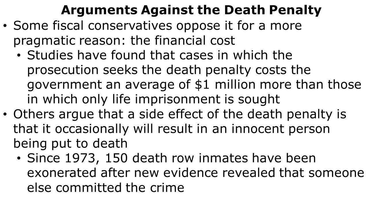 an argument against practicing the death penalty One can similarly make anecdotal arguments against the death penalty by providing moving stories of innocent people who were unfairly executed to me, a strong argument would be one that weighs the pros and cons of the death penalty and then, using data, proposes a recommendation.