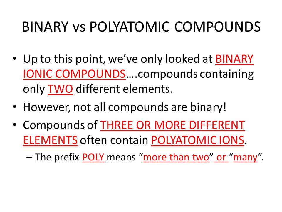 Binary compounds contain elements
