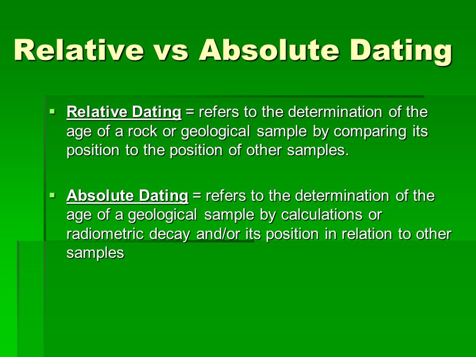 Relative vs absolute dating