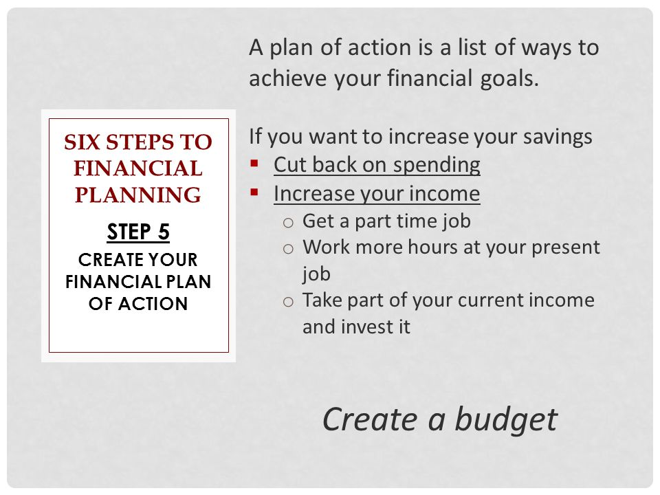 steps in creating your personal financial Our step-by-step budgeting guide takes you through how to build a budget you should tackle these only after you've gotten your other financial ducks in a.