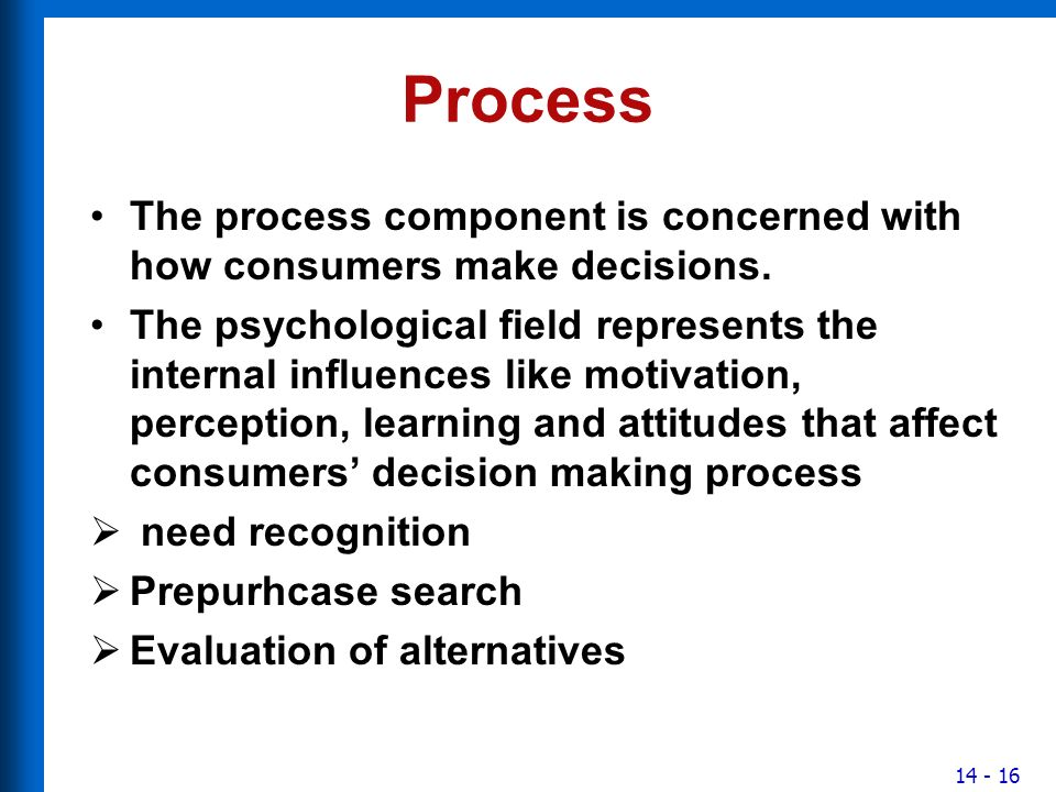 internal influences and consumer decision process And analyses the ways in which marketers can better understand how consumers think and behave this paper outlines the significant factors that impact consumer behaviour throughout the theoretical framework with the topics of: internal influences, motivation, emotions and personality and influencing attitudes and.