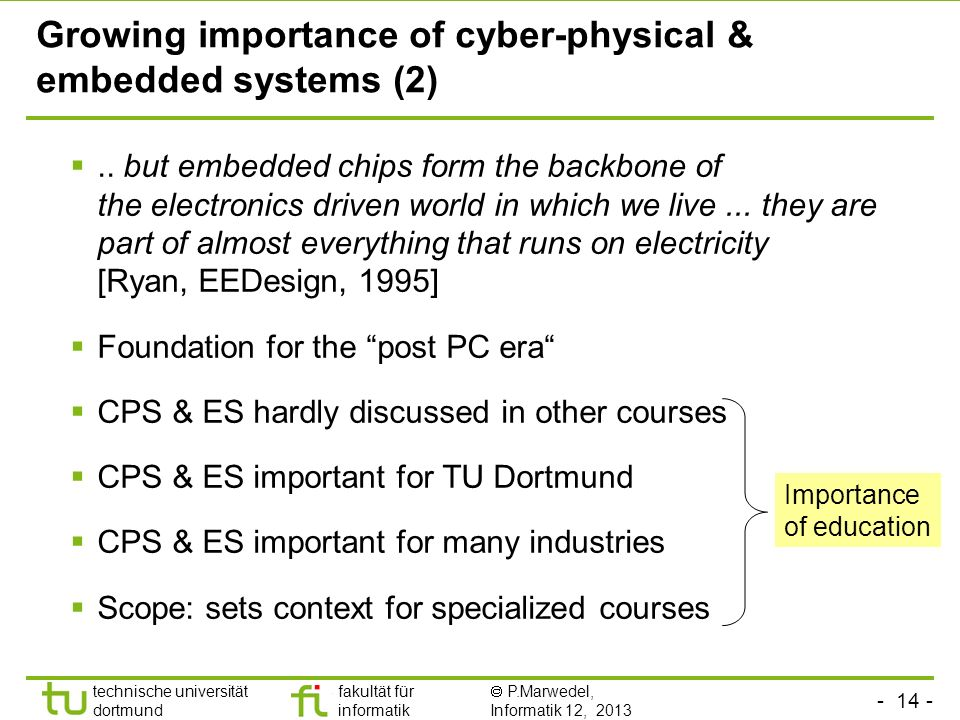 Growing importance of cyber-physical & embedded systems (2)