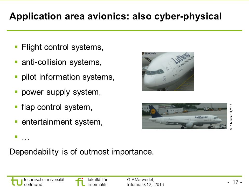Application area avionics: also cyber-physical