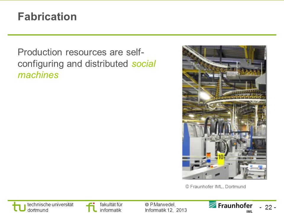 Fabrication Production resources are self-configuring and distributed social machines.