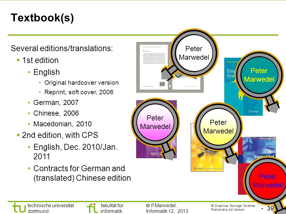 Textbook(s) Several editions/translations: 1st edition English