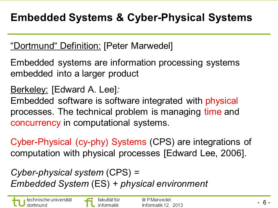 Embedded Systems & Cyber-Physical Systems