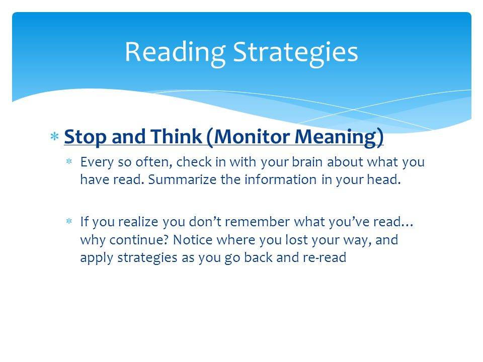 Reading Strategies Stop and Think (Monitor Meaning)