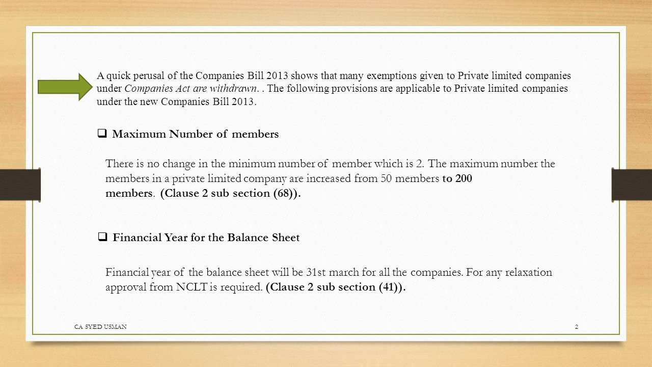 Calendar Year Under Companies Act : Provisions applicable to private limited company under